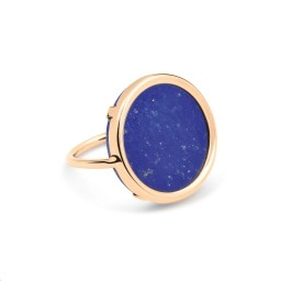 Bague Disc Or rose Lapis Lazuli