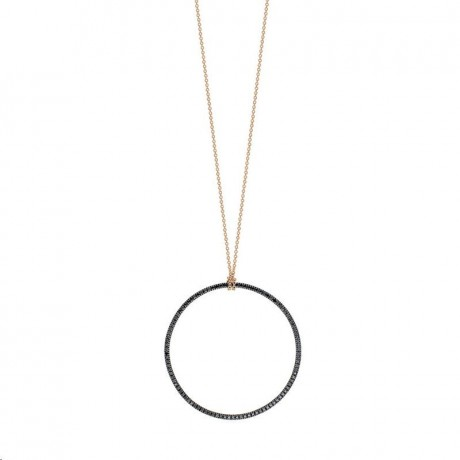 Collier Mini Black Circle Or rose Diamants Ginette NY CCE003DN
